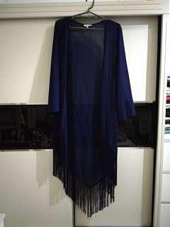 Bohemian Dark blue Fringe Outerwear / Beach Wear