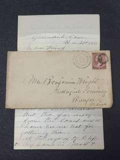 US 1883 Envelope + Letter w 2c Brown Banknote Washington, Interesting Fancy O Cancel