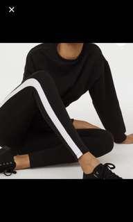 H&M 黑白 側條 緊身褲 運動褲 休閒褲
