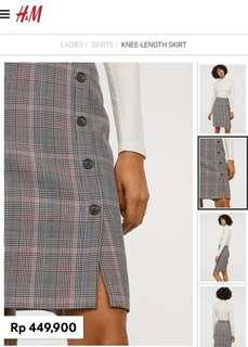 H&M ori plaid midi skirt
