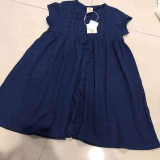🚚 Tiny Button Girl Dress In Navy (4-5Years)
