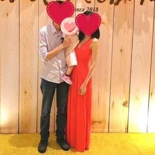 Watermelon Red Maxi Dinner Dress/Gown
