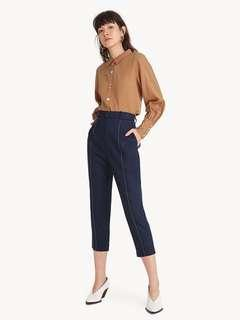 POMELO Premium Tencel Mid-Line Tailored Cropped Pants