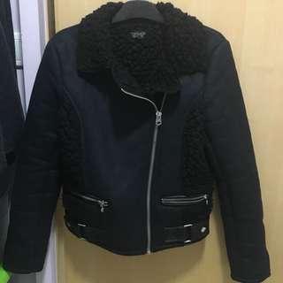 Topshop faux shearling biker jacket 機車 外套 皮褸