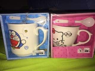 mug hello kitty & doraemon
