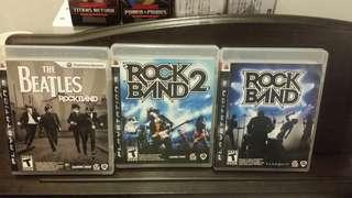 PS3 GAMES SET OF 3 ROCKBAND 1 & 2 & BEATLES