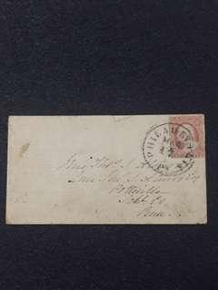 US c1851-57 3c Imperf Washington on Cover, Fine Philadelphia Cancel