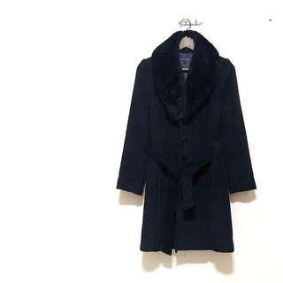 🚚 MICHEL RENE經典復古黑色毛絨翻領毛呢大衣外套 近全新 質感非常好