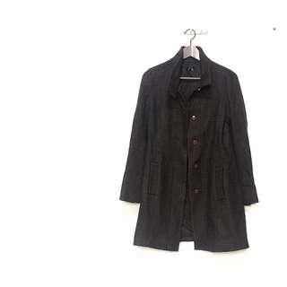 🚚 ✔️日本挺版灰咖色細格紋毛呢大衣外套 日本帶回 只有一件