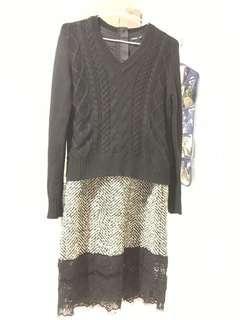 🚚 黑毛衣拼接連身蕾絲裙