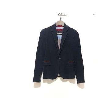 🚚 ZARA經典藏藍色拼接酒紅色袖口補丁挺版西裝外套 穿起來非常挺