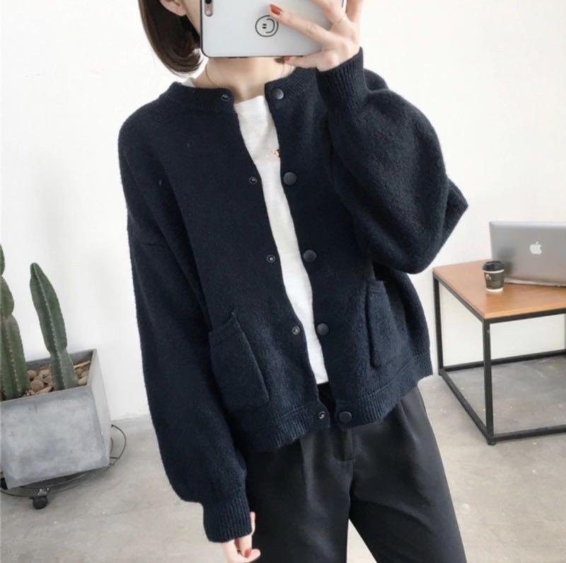 👍👍👍👍超推顯瘦款 韓妞款 秋冬必備 可愛 寬鬆 針織 毛衣 外套 罩衫 $580 現貨黑