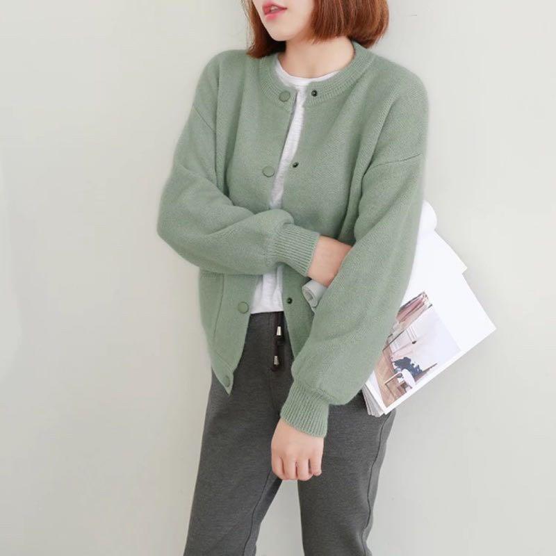 👍👍👍👍超推顯瘦款 韓妞款 秋冬必備 可愛 寬鬆 針織 毛衣 外套 罩衫 $580 現貨 淺綠
