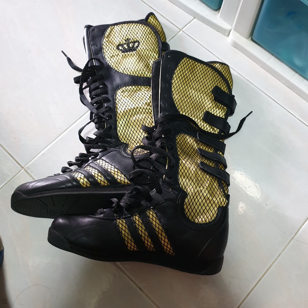 7dcc9db830a Adidas Gold and Black Lace High Sneaker Boots US 6.5 UK 5