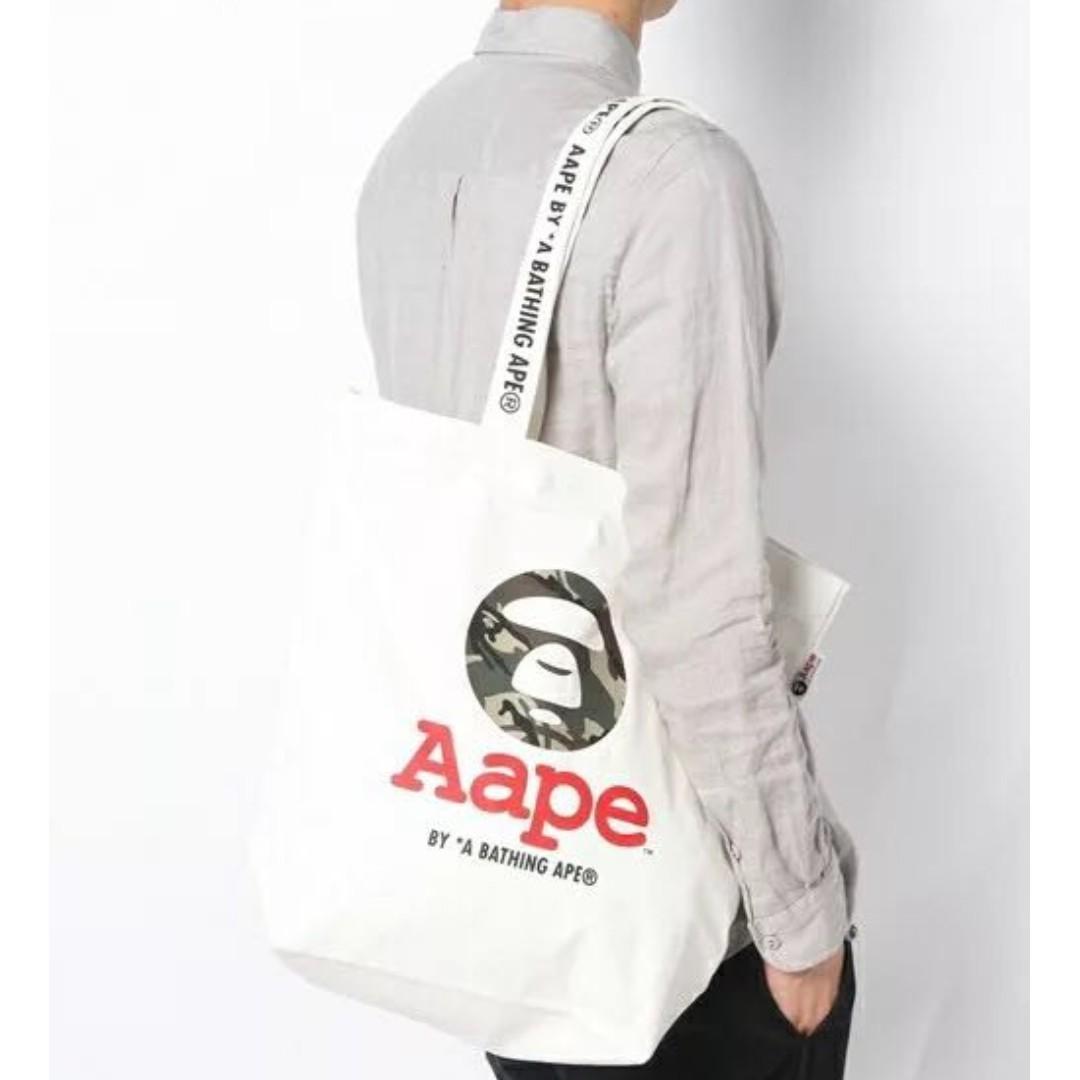 Aape by The Bathing Ape (Off White) Camo Ape Print Canvas Tote Bag ASC3232   Magazine GWP  + FREE Post! Bape a2031ec2ca3ee