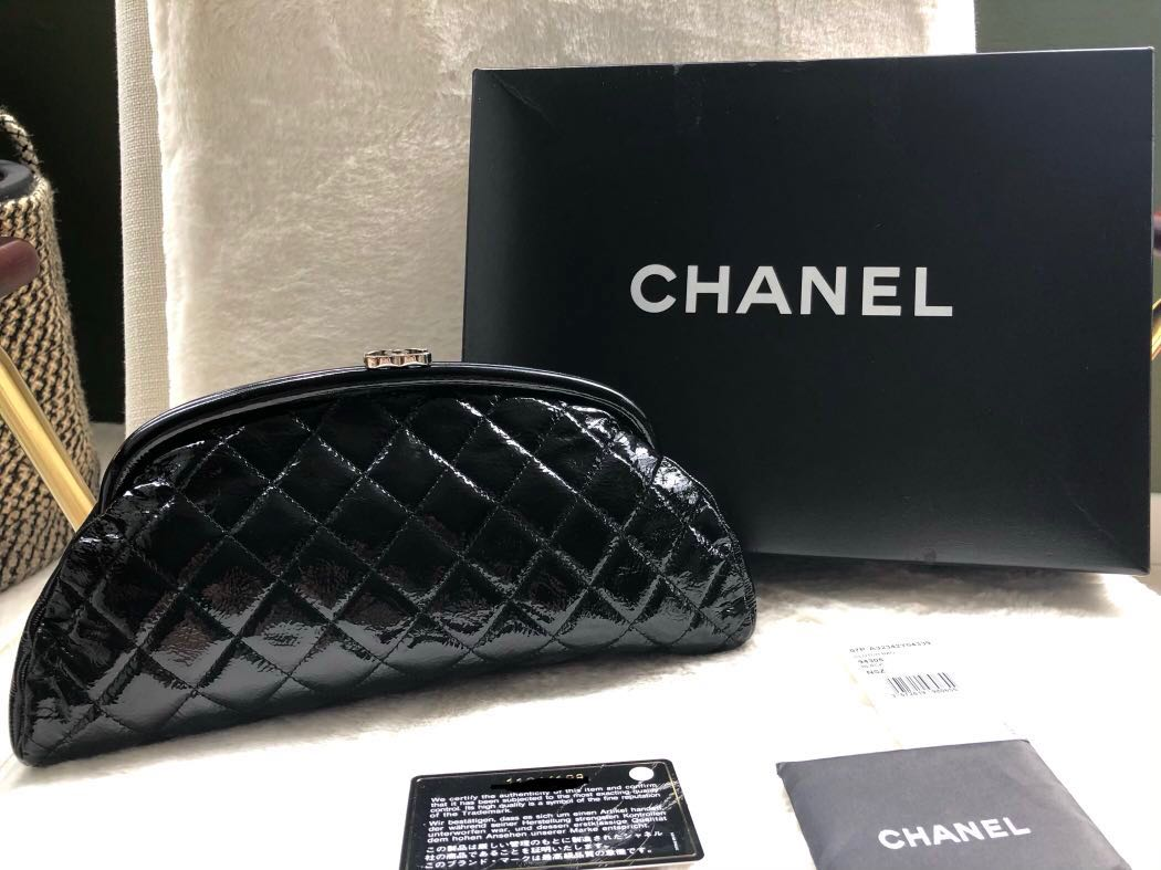 8c8aafc65d5 Authentic Chanel patent classic clutch bag with box tags card, Luxury, Bags    Wallets, Clutches on Carousell