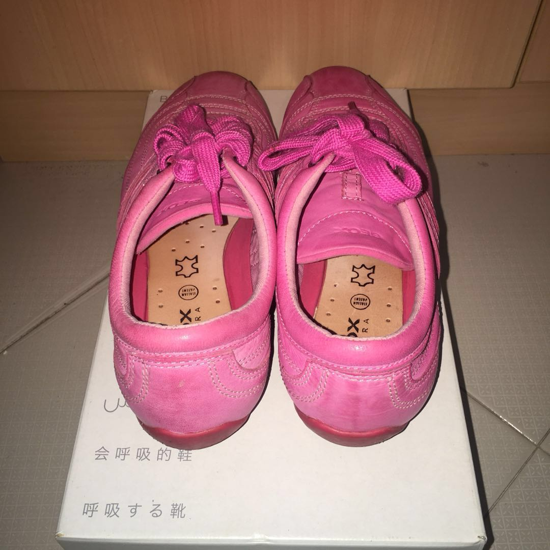 f0a8a22aaf65 Authentic GEOX Respira Pink Leather Sneakers
