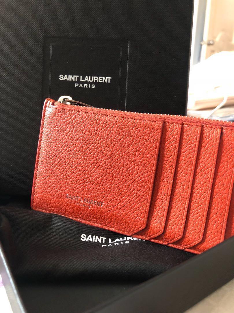 473d8f529d2 Authentic YSL Saint Laurent Fragment Zip Pouch - Orange, Luxury ...