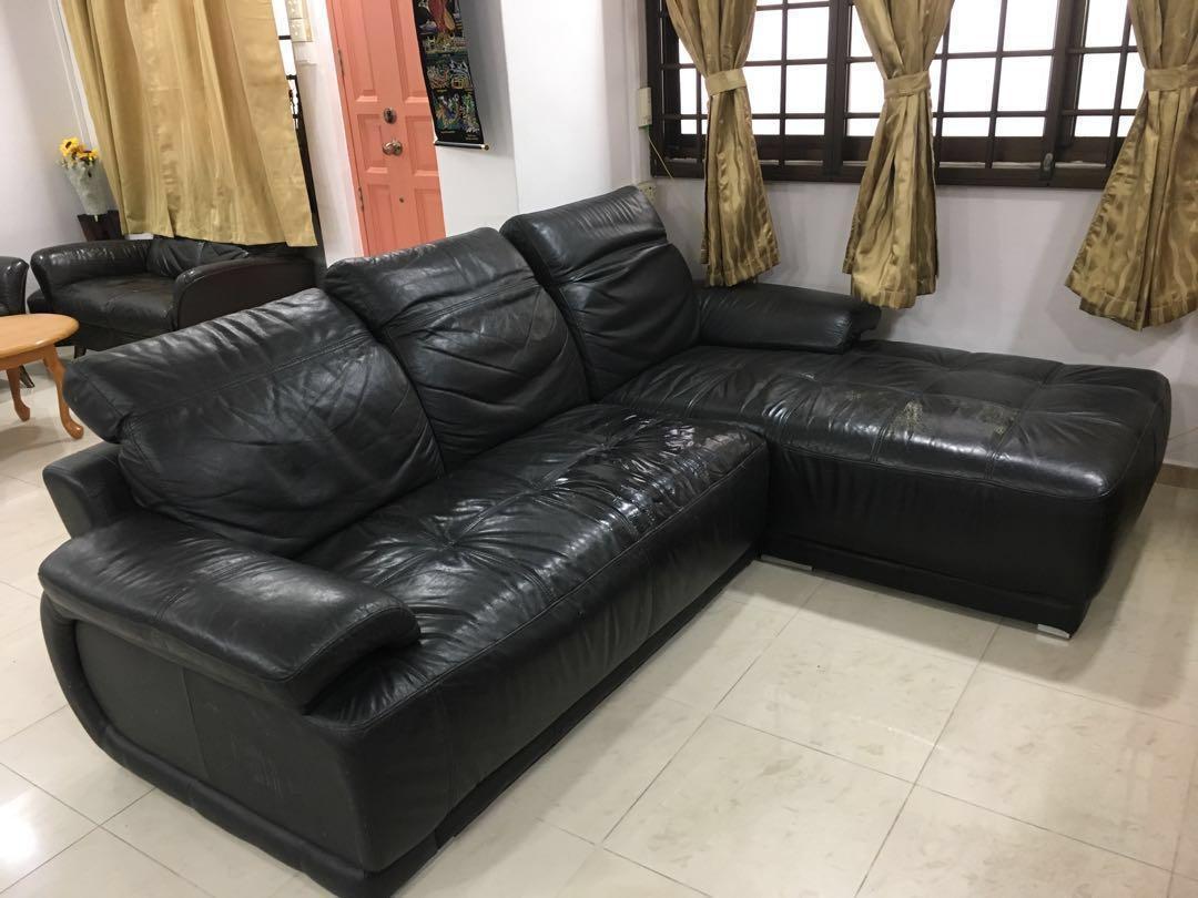 Black Leather L Shaped Sofa Set