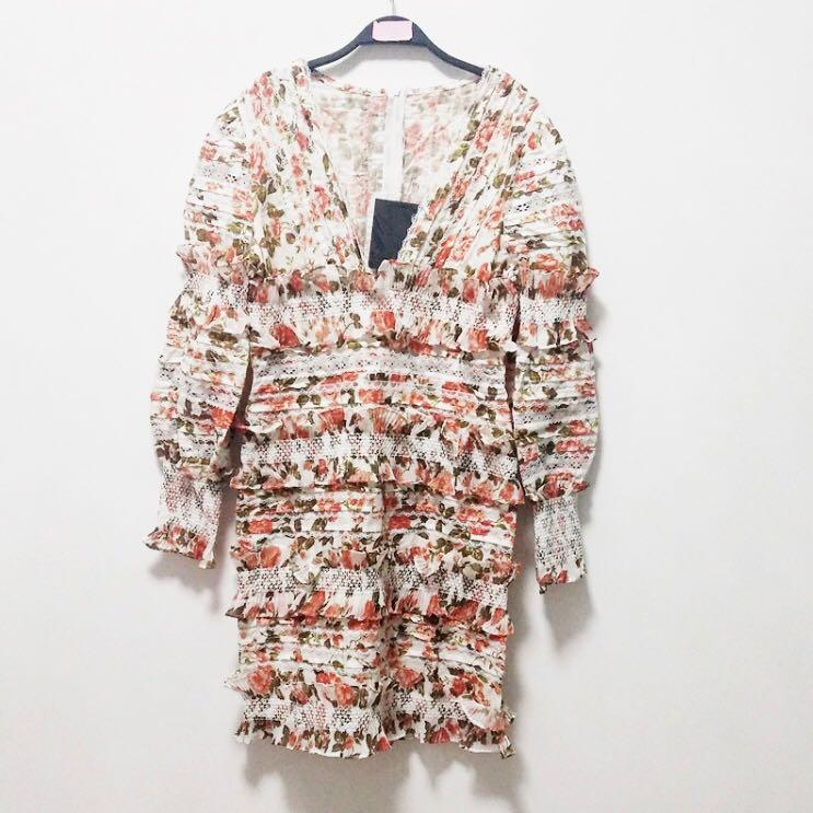 BNIP Zimmermann Remake Flora Smocked Mini Dress XS / Au 6 (RRP $1950)