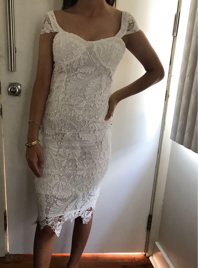 Bnwt women's white crotchet lace 3/4 formal party dress size 8