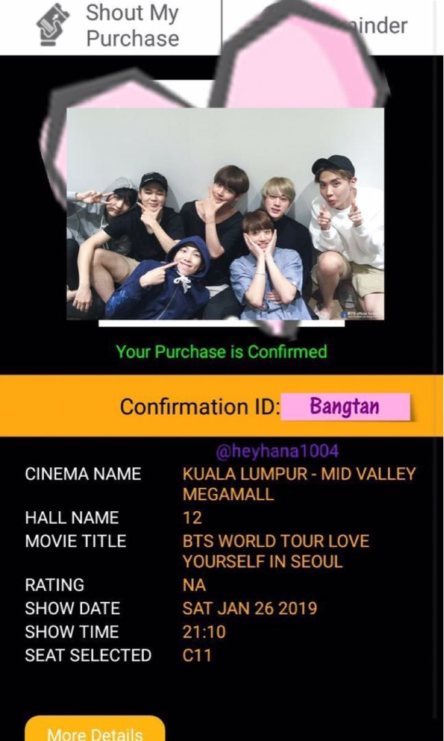 Bts Love Yourself In Seoul Ticket Mid Valley