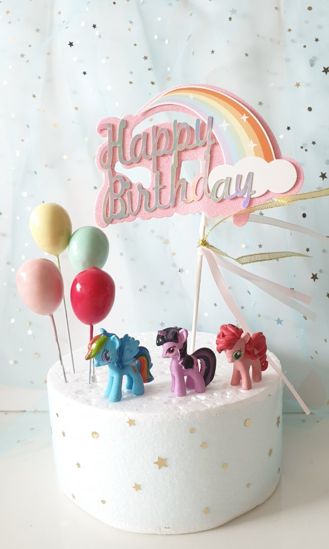 Cute My Little Pony Birthday Cake Topper With Balloons Design