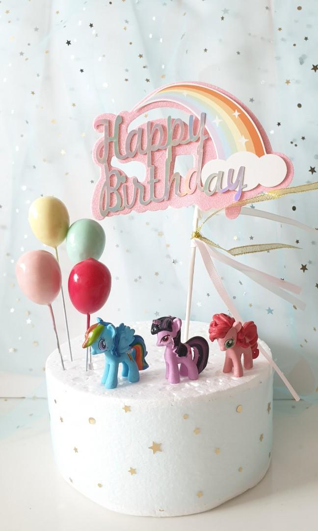 Awe Inspiring Cute My Little Pony Birthday Cake Topper With Balloons Design Personalised Birthday Cards Beptaeletsinfo