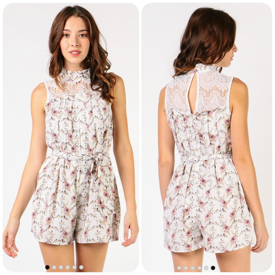 f0d41150e34 Dressabelle- Lace Top Romper (White Floral) L