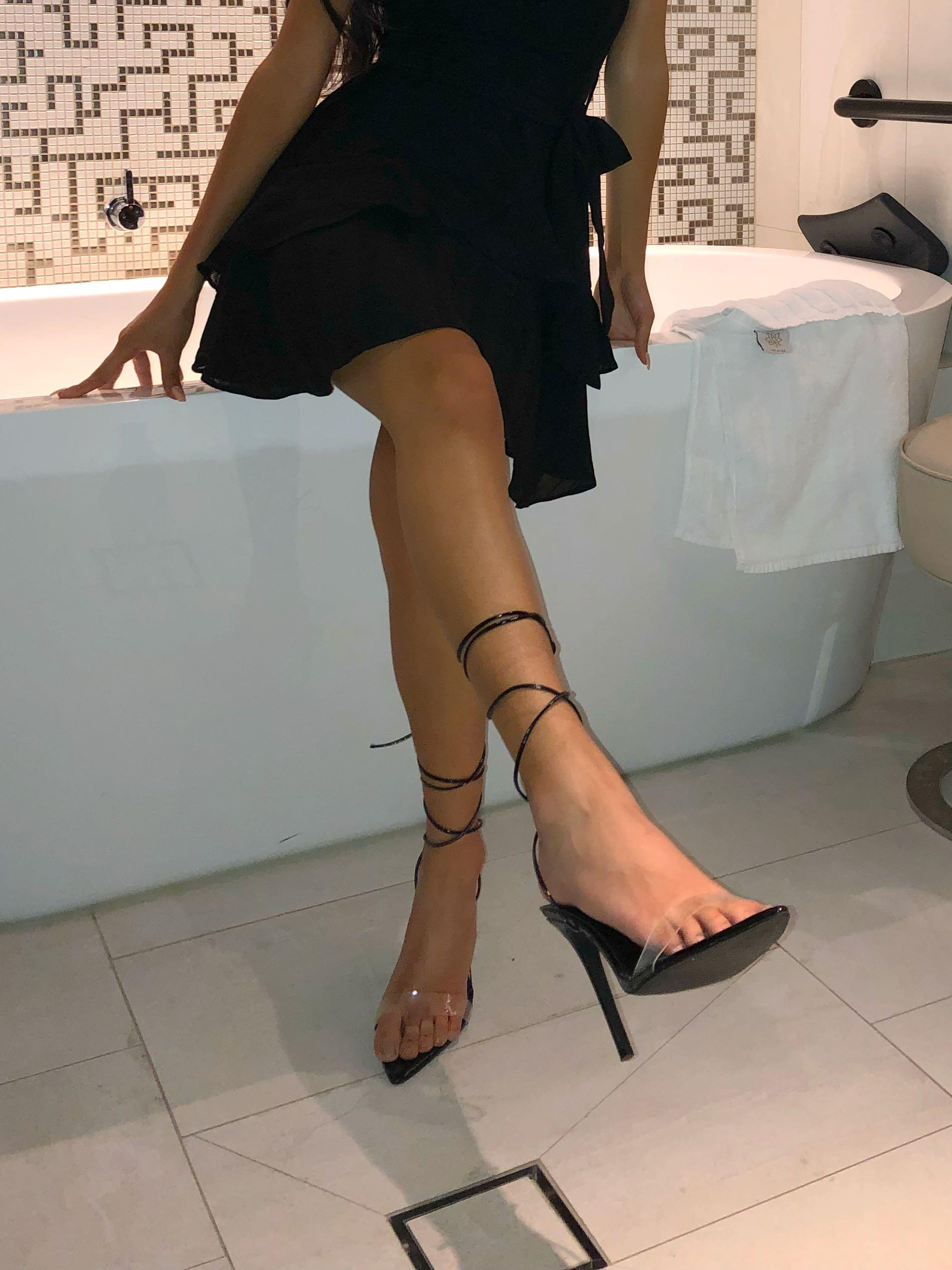 EGO SHOES Black Perpex Lace Up Heels