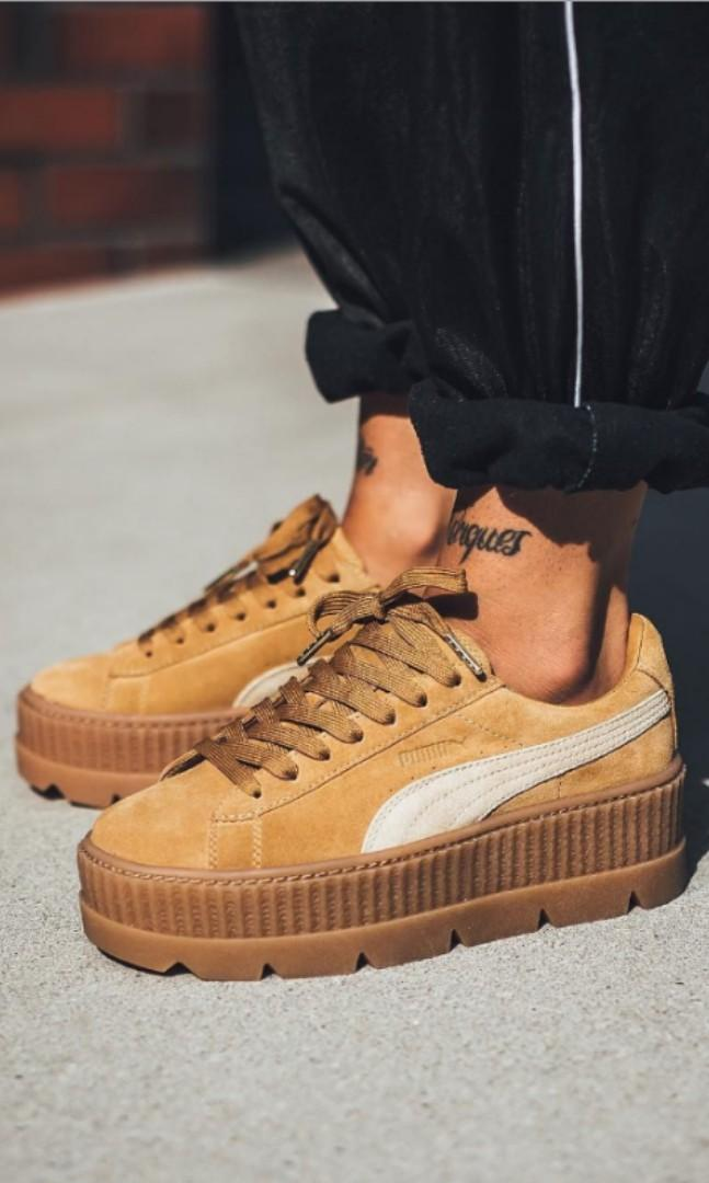 low priced 2e00a 5ff77 Fenty Puma Seude Cleated Platform brown, Women's Fashion ...