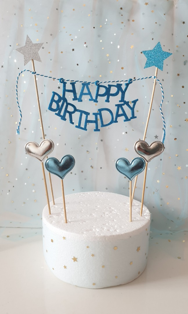 Happy Birthday Banner With Heart Toppers Design Craft Others On