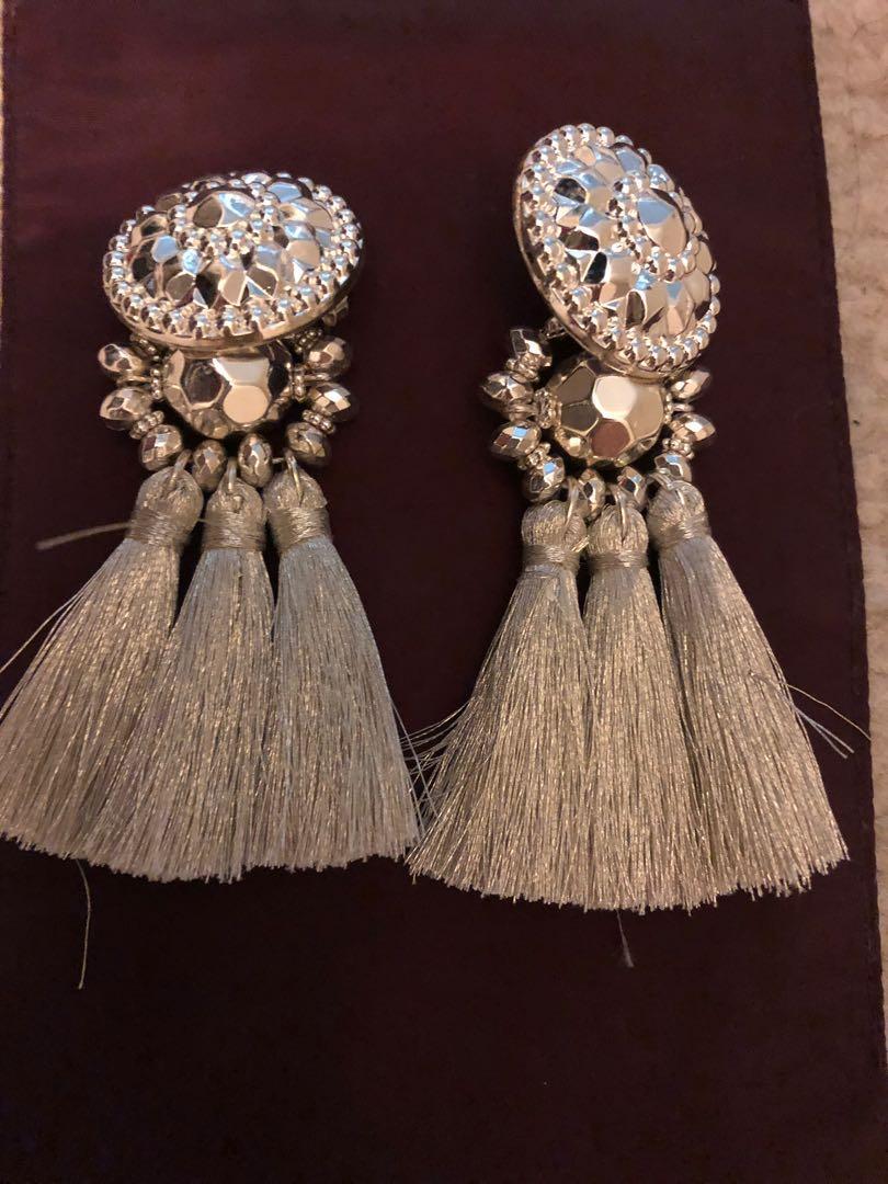 H&M silver tassel earrings