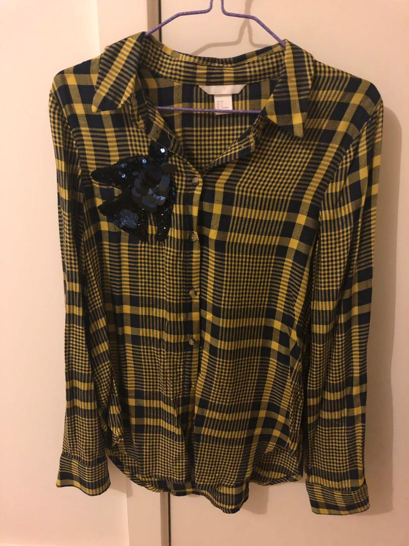 H&M yellow & black day plaid button up top with sequin bird design