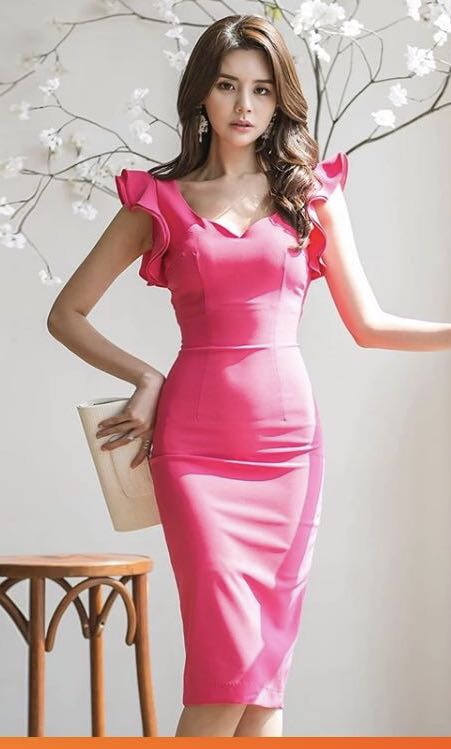 16a6caa636 Hot Pink Pencil Dress, Women's Fashion, Clothes, Dresses & Skirts on ...