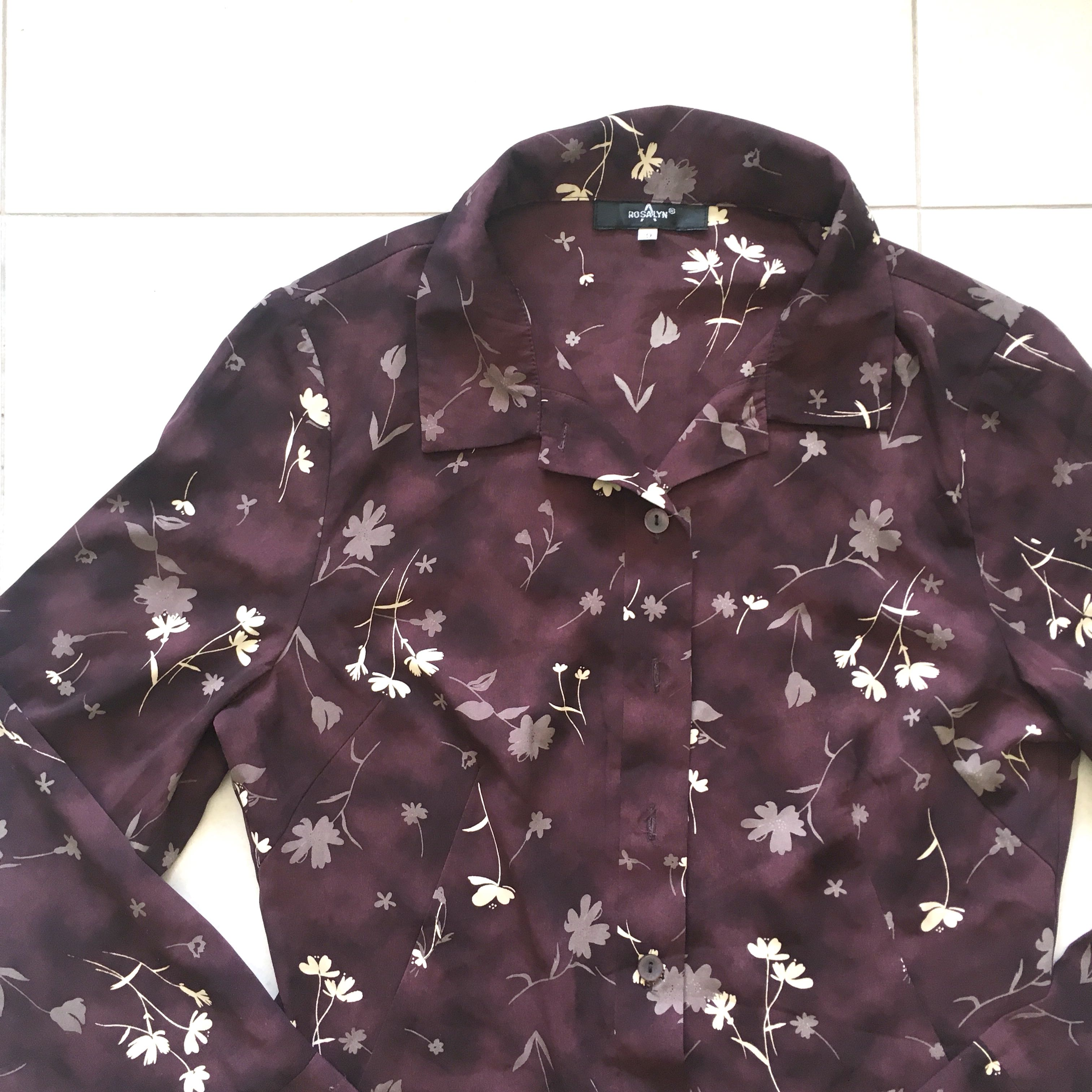 12bd613de Vintage Dark Purple Mahogany Floral Collared Fitted Button Down Shirt Blouse,  Women's Fashion, Clothes, Tops on Carousell