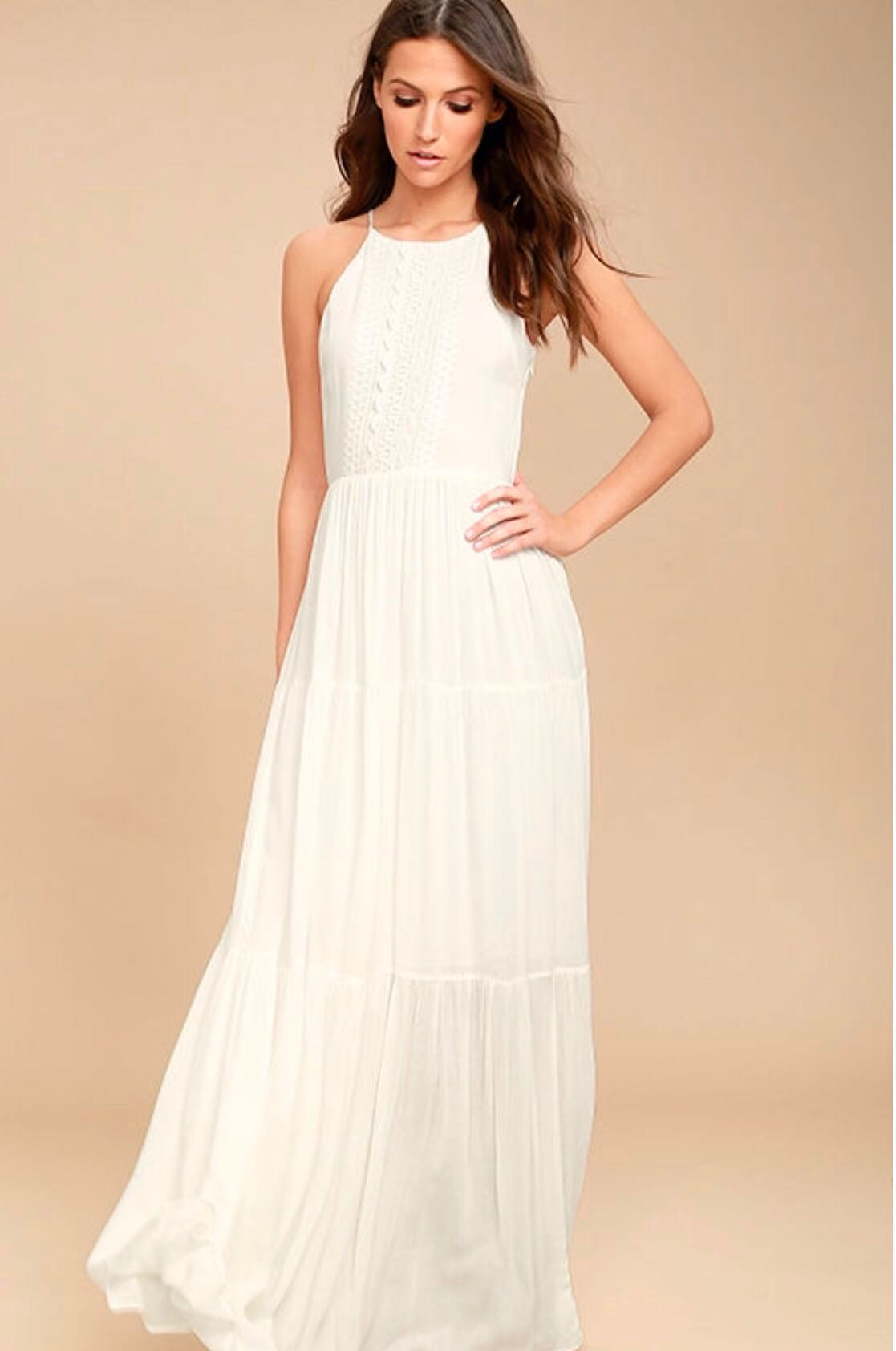 18624b9aa56 Lulu s For Life White Embroidered Maxi Dress XS