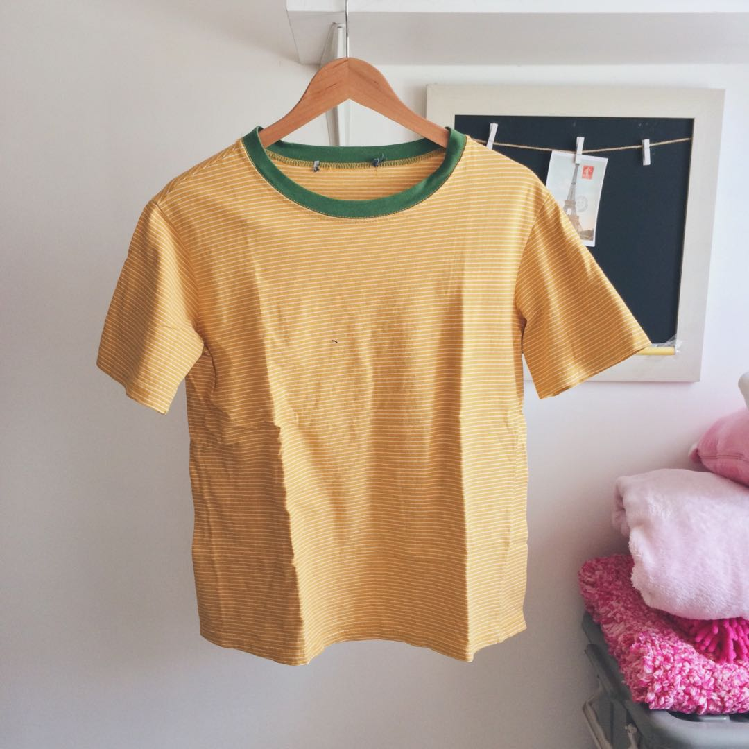 2c6d18757e Mustard Yellow Striped Tee, Women's Fashion, Clothes, Tops on Carousell