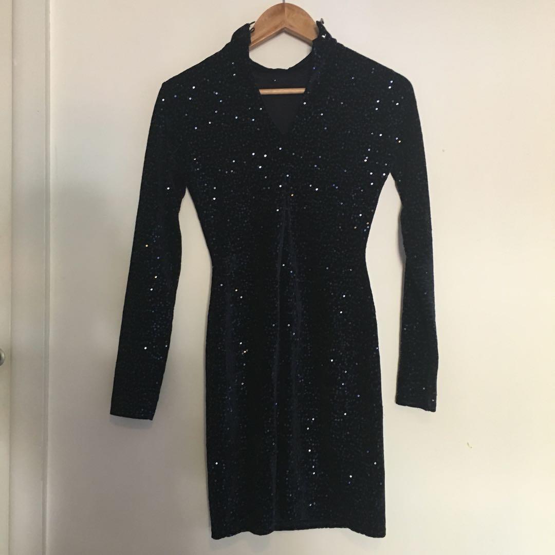 Navy blue sequinned dress