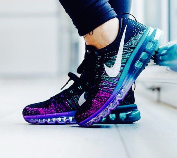 6a4d454141d7 Nike Women s Nike Flyknit Air Max – Black – White – Purple Venom ...