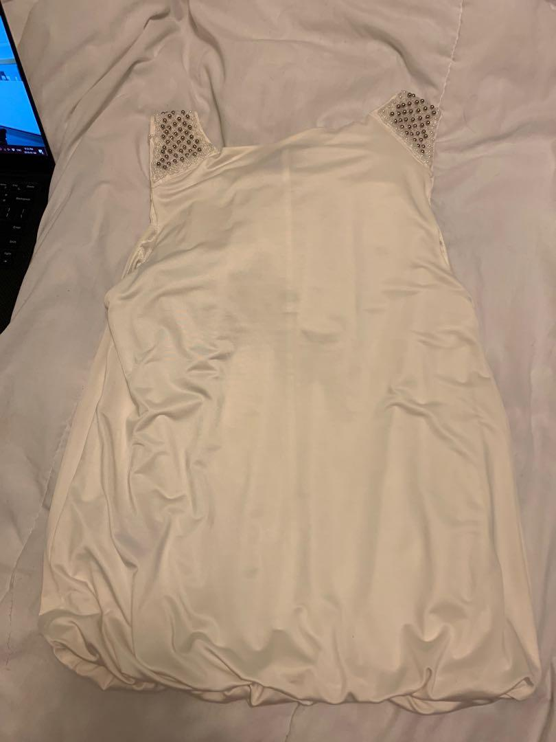 Off white sequin short sleeve- Size M