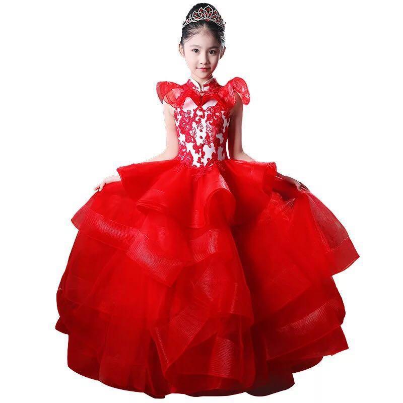 1055e2e6aa5 Red carpet kids gown long tail