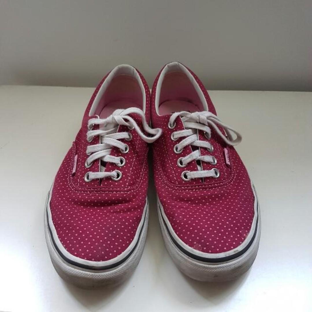 VANS Low-Cut Maroon & Pink Pokey Dot Women Size 8