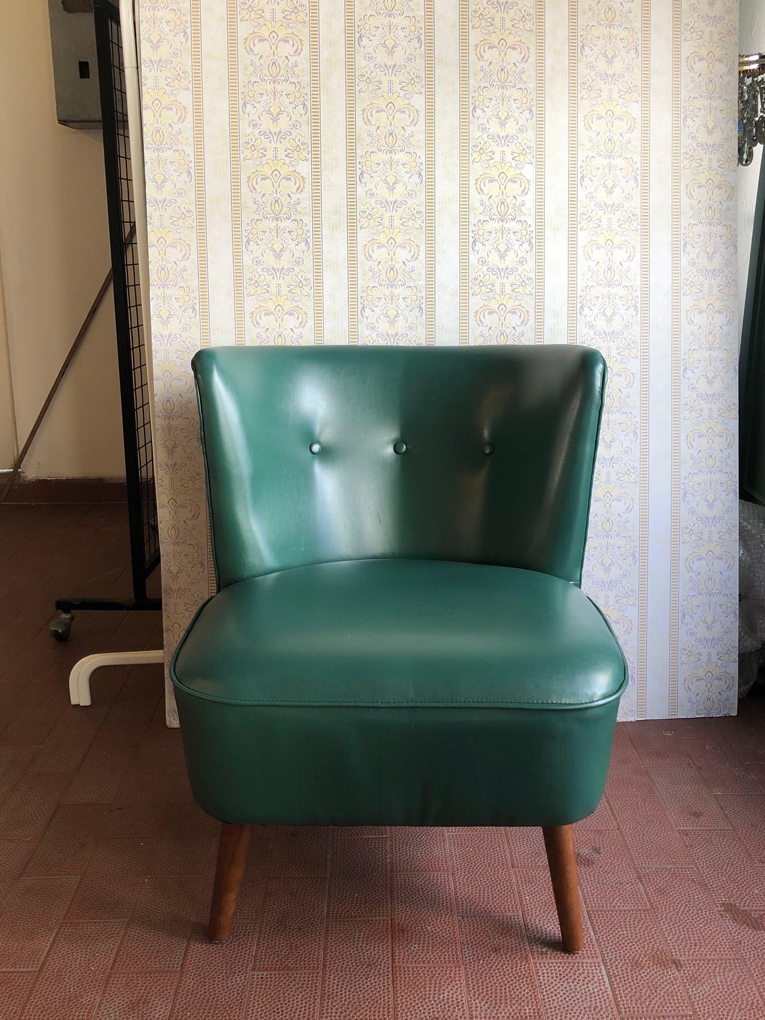 Vintage Retro Dark Green Lounge Chair Furniture Sofas On Carousell