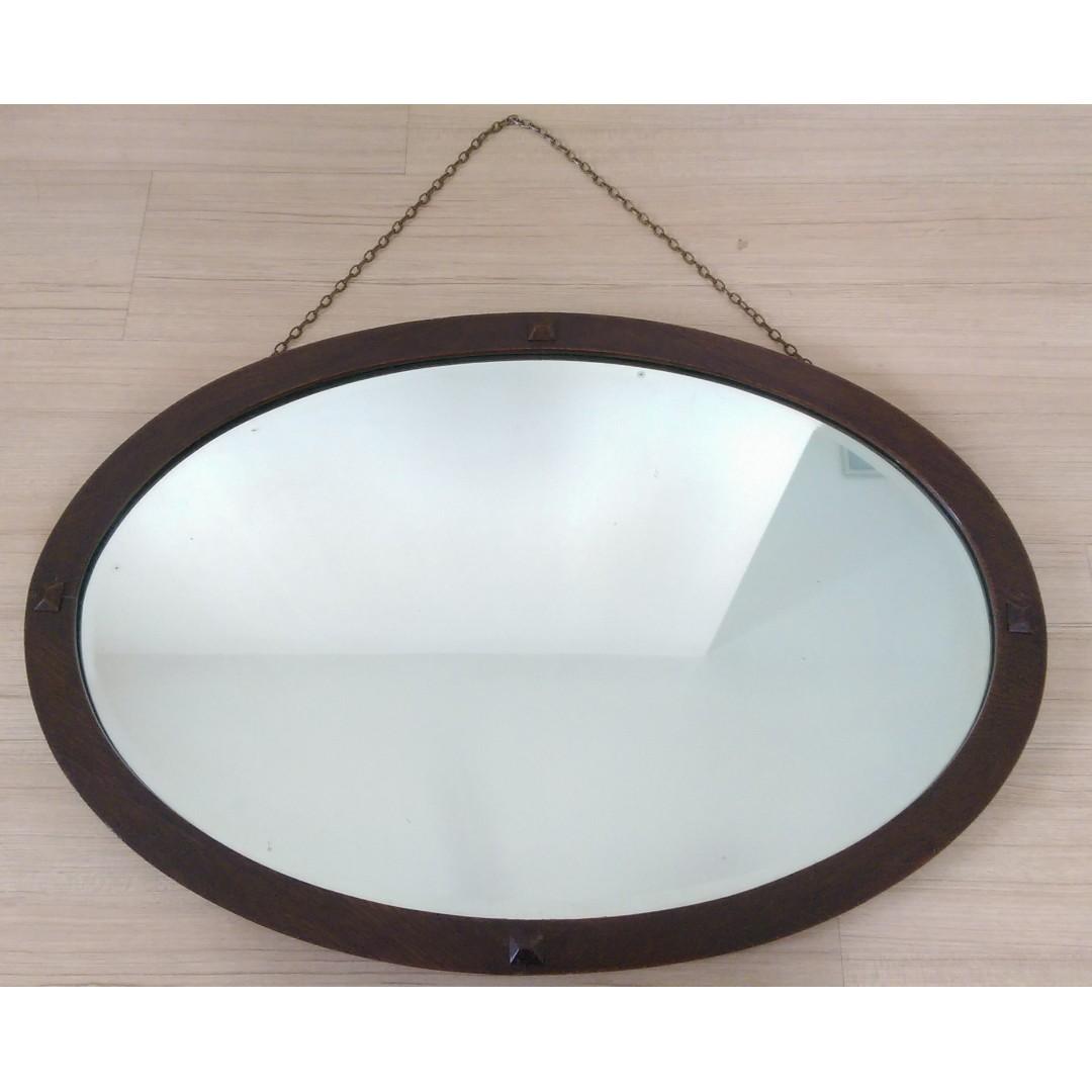 Antiques Helpful Vintage Oval Bevel Edged Mirror