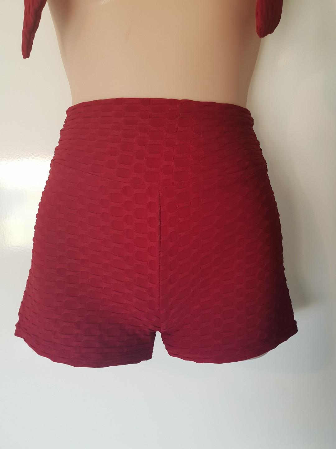 Wine Burgundy Textured High Waist Shorts Small New Comes With Waist Tie