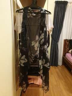 Long Sheer Floral Vest #Jan55