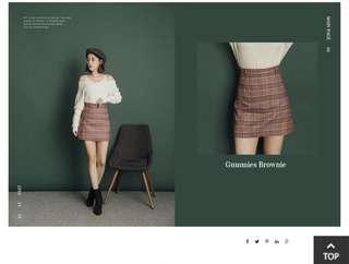 🚚 復古格紋配色短褲裙
