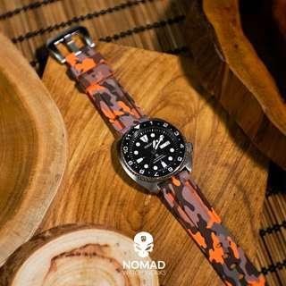 🚚 V3 Silicone Strap in Orange Camo (available in 22 and 24mm)