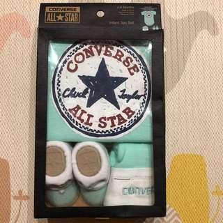 🚚 (全新) Converse All Star 包屁衣彌月禮盒 - 綠/0~6M